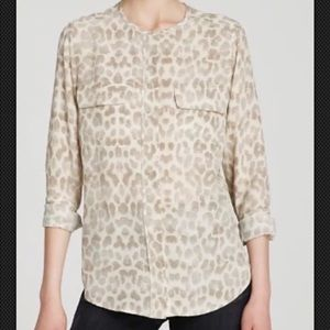 Equipment Lynn Leopard Print Silk Blouse Size S